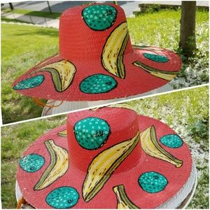 Signed Hand Painted Tropical Fruit Straw Hat O/S